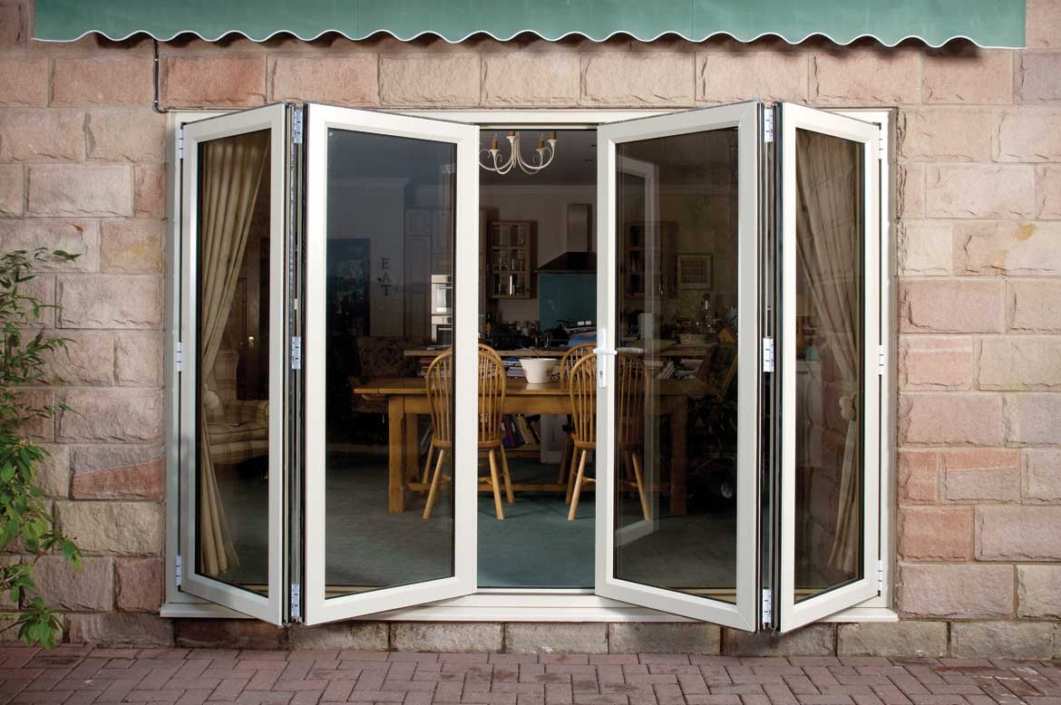 Saje upvc bi fold doors in hampshire dorset sussex surrey for Upvc folding doors